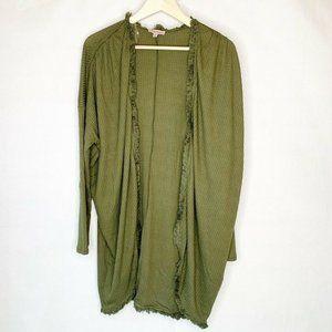 NWT Remixmess Open Cardigan Sweater Green Fringe S